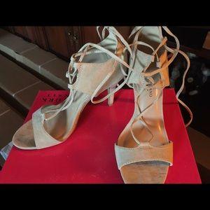 Tan suede tie heels